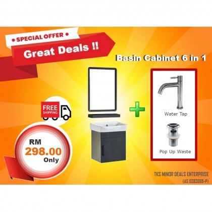 [READY STOCK] Cabana Stainless Steel Bathroom Basin Cabinet With Mirror And Shelf Package CGB3600