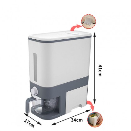 [READY STOCK IN MALAYSIA] Rice Dispenser, Rice Storage Box Food Dispenser Household Rice Bucket Storage Food Grain Storage Container with Egg Box