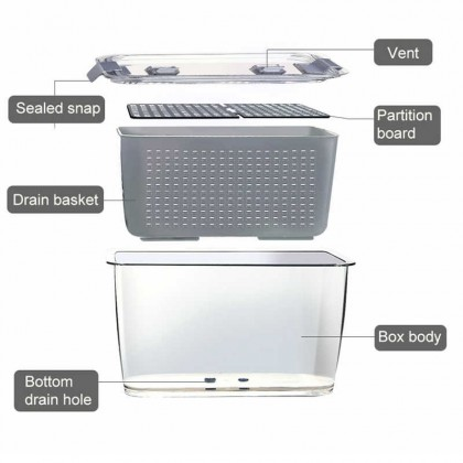 [READY STOCK IN MALAYSIA] Plastic Food Container Drain Basket Sealed with Lid for Fruits and Vegetables