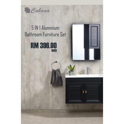 Cabana Home Living 5 IN 1 Aluminium Bathroom Furniture Set With Mirror, Basin Cabinet + FREE Basin Cold Tap & Pop Up Waste Set Package