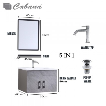 [FREE SHIPPING READY STOCK] Cabana Bathroom Stainless Steel Water Proof Basin Cabinet Set CBF66401